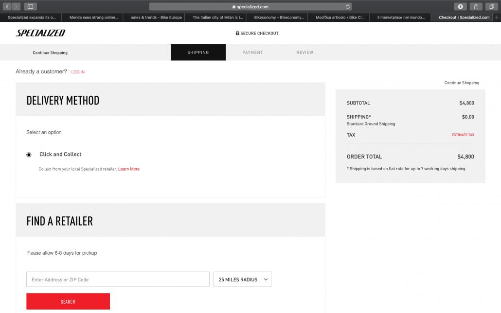 La schermata del marketplace di Specialized nella quale è possibile selezionare il negoziante presso il quale fare il ritiro