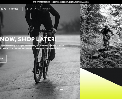 L'home page del sito internet di Fi'zi:k per la campagna ride now shop later