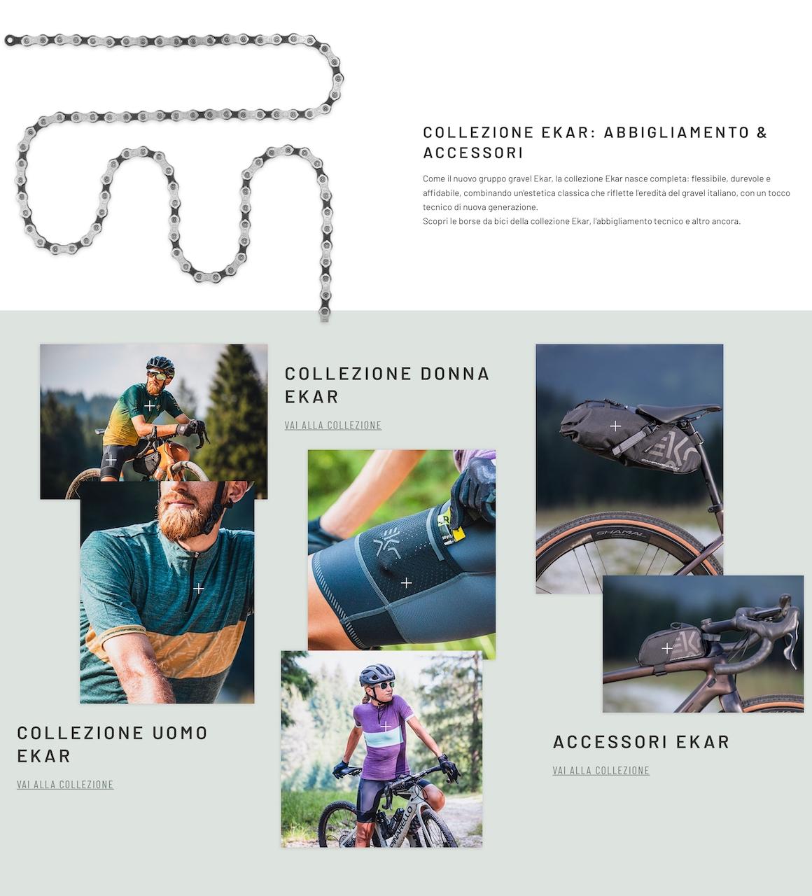La sezione della landing page di Campagnolo dedicata all'abbigliamento e agli accessori marchiati Ekar