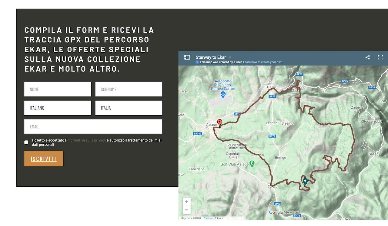 La sezione della Landing Page di Born before roads nella quale gli utenti posso scaricar la traccia gps