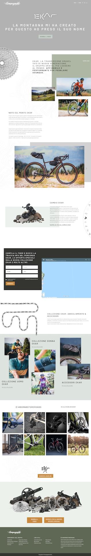 La Landing Page della campagna Born before roads per il lancio di Campagnolo Ekar