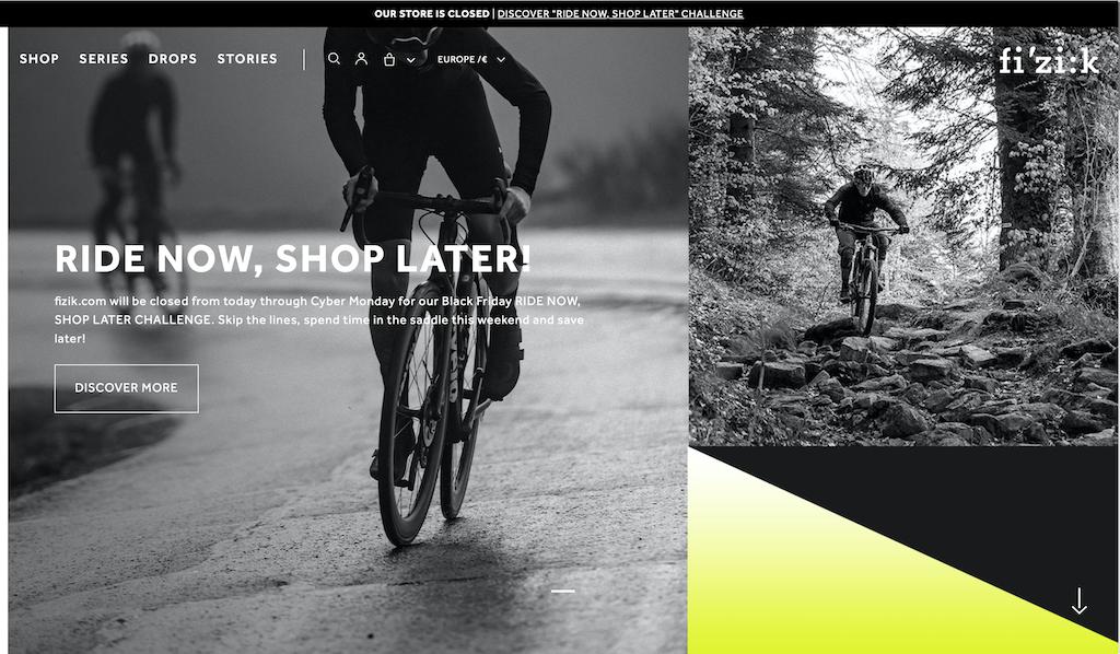 L'home page del sito internet di Fi'zi:k per la campagna ride now shop later