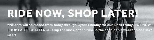 La call-to-action che Fizik ha previsto nell'homepage del proprio sito, in funzione della campagna Ride now, shop later