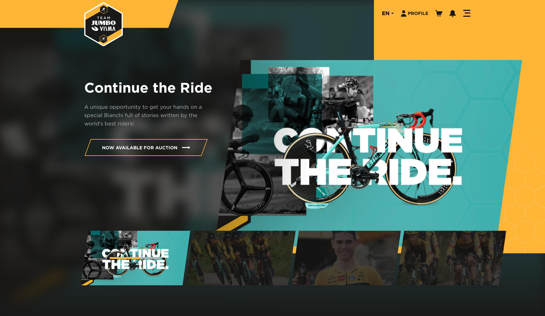 l'homepage del sito del team jumbo vista per la campagna contine the ride per bianchi