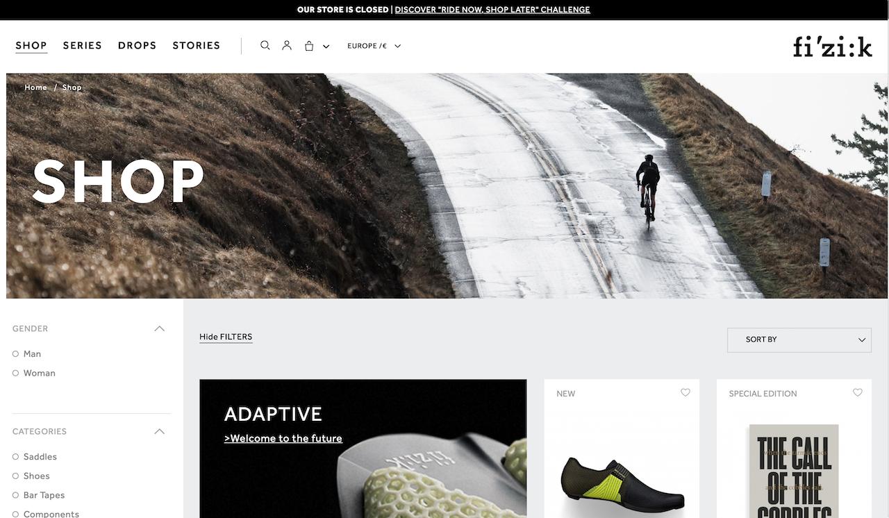 L'homepage dell'eCommerce di Fizik modificata in occasione della campagna Ride now, shop later