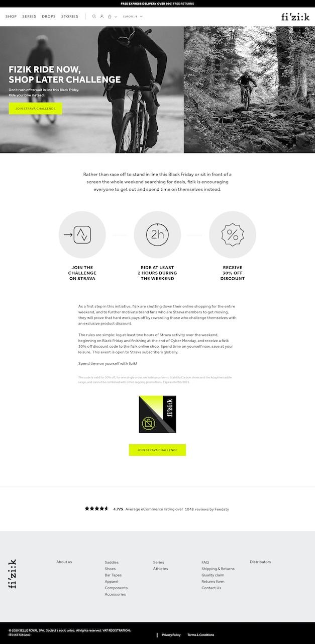 La landing page completa della campagna ride now shop later di Fizik